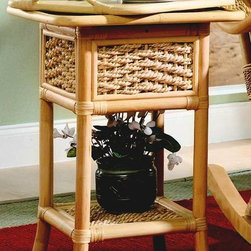 Spice Island Wicker - Serving Table in Natural (Natural) - Serve and be served in supreme style with this beautifully elegant wicker-frame serving table, complete with a sturdy removable tray and a durable, exquisitely beautiful wicker frame topped with an eloquently tasteful natural finish.  Entertain in style with this functional serving table crafted in wicker and rattan.  Handsome, compact table fits easily beside a sofa or chair and has a removable tray table top for added convenience.  Sturdy rattan frame is accented with decorative wicker inserts and has a bottom shelf, ideal for added display. * Features a removable tray. Solid Wicker Construction. Natural Finish. For indoor, or covered patio use only. 26 in. W x 20.5 in. D x 22.5 in. H