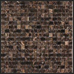 Stone & Co - Dark Emperador 5/8 x 5/8 Square Polished Marble Mosaic - Finish: Polished