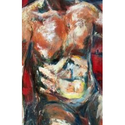 """Male Torso""  (Original) by Sharon Sieben - Artwork has been bonded on a 1.5 deep wood cradle with side painted black.  Ready to hang."