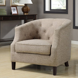 None - Ansley Trinity Stone Club Chair - This beautiful contemporary club chair adds an air of elegance and sophistication to any room. The cream-colored fabric and espresso wood finish add to the class and comfort that this well-padded chair has to offer.