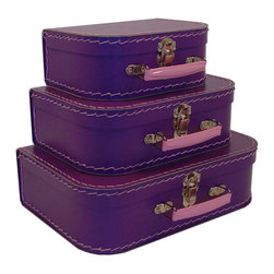 Cargo - Cargo Traveler Mini Suitcases, Set of 3, Purple - Retro style mini suitcases.  Set of 3.  Super cute carry cases.  Delightful decorative storage for supplies, small toys, etc.  Unique gift packaging, party favors, craft project.  An eco-friendly product.