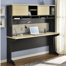 Altra - Benjamin Credenza with Hutch - The credenza features a large work surface and wire management on all sides. Combine it with the bridge and the hutch. Large work surface and wire management to help keep that home office organized. Check out the whole benjamin collection and see all the combinations you can use to create your own home office. Features: -Large work surface.-Wire management slots on all sides of desk.-Coordinates with bridge and hutch.-Features:Hollow core construction.-Benjamin Collection.-Distressed: No.-Collection: Benjamin.Dimensions: -Dimensions: 29.02'' Height x 65.98'' Width x 19.53'' Depth.-Overall Product Weight: 65.25 lbs.Assembly: -Features:.-Assembly required.