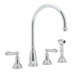 Rohl Perrin & Rowe U.4736L-2 Double Handle Kitchen Faucet - Easy to install, easy on the eyes, and easy on the dishes, too - what's not to love about the Rohl Perrin & Rowe U.4736L-2 Double Handle Kitchen Faucet? Crafted with durable solid brass, this fixture is designed for installation with four faucet holes, ¼-turn ceramic disc valves, and a patented diverter. Dual lever-style handles control a steady flow, and the high-arched swivel spout provides clearance for large pots and pans. A coordinating insulated sidespray blasts baked-on food and debris from dishes. Choose English bronze, polished chrome, polished nickel, or satin nickel. Limited lifetime warranty included. Product SpecificationsHandle style: LeverValve type: ¼-turn ceramic discSpout height: 8.47 inchesSpout reach: 9 inchesAbout RohlNamed for the family that founded it in 1983, Rohl is anchored in a tradition of family values, trust, integrity, and innovation. Since starting with its original pullout faucet, Rohl has continually expanded its product line, which now includes a variety of high-quality, classically differentiated faucets and fixtures. Each is crafted to Rohl's specifications for the home, hotel, or resort.