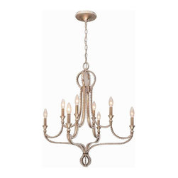 Crystorama Lighting - Crystorama Lighting 6768-DT Garland Eclectic Chandelier in Distressed Twilight - Crystorama Lighting 6768-DT Garland Eclectic Chandelier in Distressed Twilight with Hand Cut Beads Crystal
