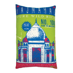 "KOKO - Rice Pillow, Taj Mahal Print, 13"" x 20"" - This is the ultimate statement pillow! The color is amazing and the iconic Indian architecture is exotic and romantic. You'll never look at another sack of rice the same way again."