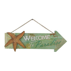 Handcrafted Nautical Decor - Wooden Arrow Welcome to Paradise Starfish Beach Sign 16'' - Ideal for posting in a room featuring a        beach Decor theme, this Wooden Arrow Welcome To Paradise Starfish Beach Sign  16'' lets people  know  exactly which direction it is to the  beach.   Ideal  for any  nautical   themed home or  beach theme  homes.  This   decorative  sign    will be a   perfect nautical gift, and make  you    feel  like  you're on the    beach   when at  home or the office. --16'' Long x 1'Wide x 12'' High----    Handcrafted from solid wood by our master artisans--    --    Sealife featured on sign - Starfish--    --    Easily mountable, solid and sturdy--    Sign prominently displays the words ''Welcome To Paradise''--