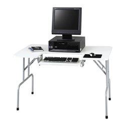 Safco - Safco Metal Folding Computer Table in Gray - Safco - - 1935GR - This folding leg computer table is super convenient for setting up a temporary workstation that can be quickly stored away after use. Each leg assembly locks into place for secure standing of the table and can be tucked up with equal ease. The pull-out