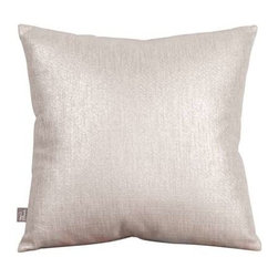 """Howard Elliott Glam Sand 16"""" x 16"""" Pillows - Change up color themes or add pop to a simple sofa or bedding display by piling up the pillows in a multitude of colors, textures and patterns. This Glam Pillow features a linen-like texture in a soothing sand color with a metallic finish"""
