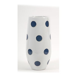 IMAX CORPORATION - Essentials Marine Blue Polka-Dot Vase - Trendy and modern, the polka-dot vase from Essentials by Connie Post brings a graphic pop to update your space. Find home furnishings, decor, and accessories from Posh Urban Furnishings. Beautiful, stylish furniture and decor that will brighten your home instantly. Shop modern, traditional, vintage, and world designs.