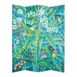 Wayborn - Wayborn Hand Painted 4 Panel Parrot Room Divider - Wayborn - Room Dividers - 1275 - Wayborn hand painted screens start with a cedar plywood frame covered in a cheesecloth material. Then layer after layer of plaster is applied; each layer must dry before another layer can be applied. After all the plaster has been applied several coats of lacquer is put over the entire surface. At that time the artist begins to sketch out the painting directly on the panels of the screen and begins painting the design with water based paint.  Each one of these screens has its own characteristics and is truly a work of art.