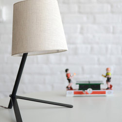 "Misewell - Tokyo 2 Large Desk Lamp - Misewell - Tokyo 2 casts a delightful glow that will warm any room. Fits well on a shelf, desk, or table. 60 Watt max bulb. Fabric shade with black or white powder coated base & neck. 18"" Tall 