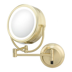 """NeoModern LED Lighted Mirror Hard-Wired - This modern yet traditional style mirror is a great addition to any style bathroom. Its 1x/5x magnification 9"""" mirror, are surrounded by a low energy virtually maintenance free LED light. It rests on a 16 ¼"""" extension, making it easier to use.  Plug-in & hard-wired versions available in four finishes."""