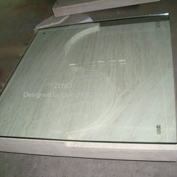 """ZENO 39""""x39""""x14'' MARBLE TRAVERTINE COFFEE TABLE - Reference: CT206 - CT206GLASS"""