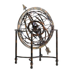 Iron Arrow Globe - Old-world allure comes to your decor from all directions with the Iron Arrow Globe, a handsome sculptural addition to traditional and transitional interiors. Resting within a four-footed stand, the distinctive globe is fashioned from burnished strips of iron and boasts a Gold with Verde finish. An airy yet sophisticated accent to a library, master suite sitting area, or home office.