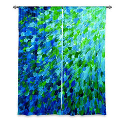 "DiaNoche Designs - Window Curtains Unlined by Julia Di Sano - Splash Out Green - Purchasing window curtains just got easier and better! Create a designer look to any of your living spaces with our decorative and unique ""Unlined Window Curtains."" Perfect for the living room, dining room or bedroom, these artistic curtains are an easy and inexpensive way to add color and style when decorating your home.  This is a tight woven poly material that filters outside light and creates a privacy barrier.  Each package includes two easy-to-hang, 3 inch diameter pole-pocket curtain panels.  The width listed is the total measurement of the two panels.  Curtain rod sold separately. Easy care, machine wash cold, tumbles dry low, iron low if needed.  Made in USA and Imported."
