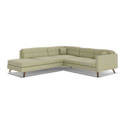 TrueModern - Dane Corner Sectional Sofa with Bumper in Calvin Ivory - With plenty of room for lounging, retro-inspired Dane Corner Sectional Sofa with Bumper in Calvin Ivory is a standout piece. Upholstery is made of 100% polyester (30,000 rub count!). *Seat Height: 16.5""