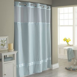 """Hookless - Hookless Escape 71-Inch x 74-Inch Fabric Shower Curtain and Liner Set in Blue - This innovative shower curtain and liner offer no hassles thanks to their """"split ring"""" hookless design that lets you hang them in less than 10 seconds."""