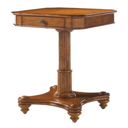 Lexington - Tommy Bahama Home Island Estate Cinnamon Cove Lamp Table - What appears to be a telescoping pedestal creates a balance of space and highlights the crushed bamboo top above a single drawer.