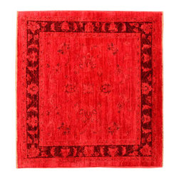 1800-Get-A-Rug - Oriental Rug Overdyed Peshawar Square Hand Knotted Rug Sh13453 - About Overdyed and Patchwork