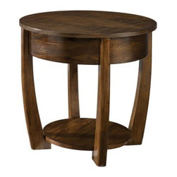 Hammary Concierge Round End Table - The Hammary Concierge Round End Table is the perfect accessory for your modern home. Made from select hardwoods and ash veneers in a medium brown finish, this corner-free end table has a top perfect for your lamp as well as one fixed shelf below.About Hammary Furniture CompanyHammary Furniture Company was started in 1943 by furniture craftsman, Hamilton Bruce. The name Hammary is a combination of Hamilton and Mary (Hamilton's wife's name). Hammary is now a division of La-Z-Boy Incorporated and they specialize in providing quality home furniture for today's modern families and homes. Hammary offers a variety of occasional table styles, and other furniture for home office, casual dining, and bedroom in all shapes, sizes, and materials.