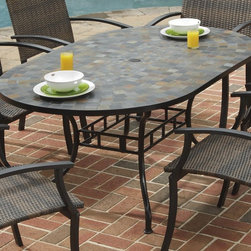 HomeStyles - Outdoor Dining Table - Small, square, hand applied slate tiles table top. Center opening table top. Can be used for an umbrella and closed. Black cap for continuous surface. Adjustable and nylon glides. Prevent damage to surfaces caused by movement. Provide stability on uneven surfaces. Made from slate and powder coated steel. Slate and black color. Made in Vietnam. 65 in. L x 39.5 in. W x 29.5 in. H. Assembly InstructionsWith no two tops being exactly the same in a naturally occurring gray variation.