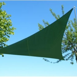 Kookaburra 9.8-ft. Waterproof Triangle Shade Sail - Even a touch of shade can make the difference between a successful patio party and a failed one. The Primrose Kookaburra 9.8-ft. Waterproof Triangle Shade Sail will provide all-day protection from rays and rain showers. Conveniently sized to fit a variety of outdoor spaces, this triangular shade sail will create a relaxing environment just about anywhere. Made with durable, high-density polyester fabric, the shade is tightly woven to prevent UV rays and rain from getting through. Independently tested to UPF50+, this shade awning will block over 98% of UV rays, which is the maximum UV protection that can be achieved by a fabric material.Available in a variety of easy-to-match colors, this 9.8-foot-square shade casts a nicely sized shadow from overhead or at an angle, depending on how you set it up. Simply attach the corners (directly or with rope) to poles, stakes, or trees to create instant shade over your patio, pool, or park picnic table. If a bird happens to leave you a present on the shade, just toss it in the washing machine (with water at 40 degrees Celsius). With a fabric weight of 160 grams per square meter, this robust shade sail can stand up to frequent use.