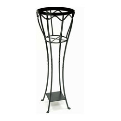"Achla - Verdana Plant Stand - The strikingly beautiful Verdana Plant Stand features a cleverly designed openwork basket that allows trailing vines to climb unfettered.  Crafted of iron with lustrous graphite powdercoating for lasting durability, the Verdana Plant Stand is 40.5"" tall and 13.5"" in diameter.  The graphite powder coat finish of this plant stand begins as a glossy ebony at the top as it slowly transforms into a pleasing grey at the bottom.  Its iron legs twist in a faux forged fashion. * Iron. Black Powdercoat finish . 13.5 in. Dia.  X 40.5 H in."
