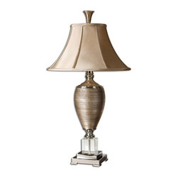 Uttermost - Abriella Gold Table Lamp - Don't miss your golden opportunity to brighten your decor with this ritzy table lamp. It tastefully combines gold, crystal and chrome for an ultra-luxurious look.