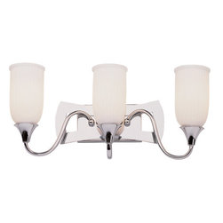 Trans Globe Lighting - White Fluted 3 Light Wall Sconce in Polished Chrome -
