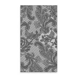 Paper Products, Inc. - Lace Royal Guest Towel in Silver and Black (Pack of 16) - The elegant lace design of this guest towel will add sophisticated touch to any guest bathroom, buffet line, and more.