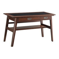 Office Star - Office Star Evans Writing Desk - Evans writing desk with inset tempered black glass top and Umber finish wood frame. Features include a pullout keyboard drawer with flip-down face, one multi-use storage drawer with cable management and a lower storage shelf. This item is ready to assemble