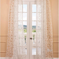 EFF - Marietta White Patterned Sheer Curtain Panel - EFF has redefined the construction of sheer curtains and panels. Their white patterned sheer collection is unmatched in quality and their panels create a beautiful diffusion of light.