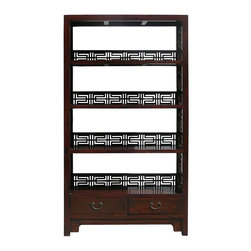 Golden Lotus - Old Solid Wood Happiness Carving Display Cabinet Book Shelf - You are looking at a Chinese handmade old solid elm wood book shelf. This book shelf has 4 shelves and two drawers at the bottom.