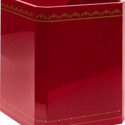 Bungalow 5 - Bungalow 5 Tartier Waste Bin - Don't overlook the power of a chic detail. This rich red waste bin was conceived by Bungalow 5's talented team of New York-based artists and designers, and is finished with golden ornaments and lustrous lacquer.Red lacquer