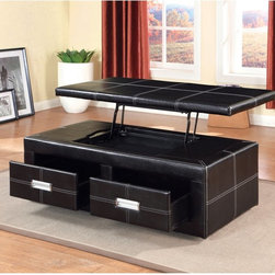 Furniture of America - Furniture of America Leatherette Ottoman Bench with Storage Drawer - Espresso Da - Shop for Benches from Hayneedle.com! Obtain optimum storage and seating space with the Furniture of America Leatherette Ottoman Bench with Storage Drawer Espresso. Featuring a durable solid wood frame this tufted leatherette upholstered ottoman showcases a smooth black finish with white double stitching. It comes with two spacious drawers that are opened with shiny metal handles and a storage bin that is found underneath its raised top. Perfect for all your household essentials this ottoman bench ensures that your things are put away safely all while providing additional seating for family and friends.About Furniture of AmericaFurniture of America has over 20 years experience in the furniture industry. They have facilities in California Georgia and New Jersey. Furniture of American strives to provide a comprehensive selection of home furniture at competitive prices. They feature a wide variety of bedroom collections youth furniture dining room sets upholstery living room furniture accents upholstery and more. Furniture of America offers more value for less always!