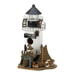 KOOLEKOO - Nautical Shack Birdhouse - Give the birds the best vantage point in your yard with this charming Nautical Shack birdhouse. Decorated like a lighthouse tower, the base of this darling birdhouse features a wooden anchor, pier posts and more.