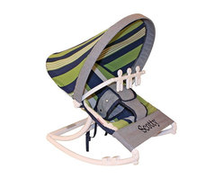 Hoohobbers - Hoohobbers Baby Rocker - Lacrosse - 271-28 - Shop for Baby Bouncers and Jumpers from Hayneedle.com! Even if your son doesn't turn out to be a star athlete the Hoohobbers Baby Rocker - Lacrosse is a good choice because of its simple attractive design. The baby rocker's frame is made from virtually indestructible solid polypropylene with a full hood made from removable fabric in a straight-forward combination of green and blue stripes and checks in a traditional Ivy League style. It swings from front to back and simply rotate the stabilizer feet to adjust the range of motion. This rocker is water-resistant and great for outdoor use since there are no metal parts. The removable toy bar will divert your child with its beige spinning characters. The Hoohobbers Baby Rocker - Lacrosse folds up to a slim 5 inches for easy portability and it's simple to assemble with the snap-together pieces. All fabric is machine-washable. Includes 1-year warranty. Weight capacity: 25 pounds. Sling dimensions: 14W x 24D inches.About HoohobbersBased in Chicago Hoohobbers has designed and manufactured its own line of products since 1981 beginning with the now-classic junior director's chair. Hoohobbers makes both hard goods (furniture) and soft goods. Hoohobbers' hard goods are not your typical furniture products; they fold are lightweight and portable and are made to be carried by children all around the house. Even outdoors Hoohobbers' hard goods are 100 percent water-safe. At the same time they are plenty durable and can take the abuse children often give. Hoohobbers' soft goods are fabric items ranging from bibs to bedding from art smocks to Moses baskets.Hoohobbers' products are recognized by independent third parties for their quality and performance. Hoohobbers has received Best Design Awards from America's Juvenile Products Association each time selected from more than 20 000 products. Hoohobbers has also received the Parents' Choice Award and no Hoohobbers product has ev