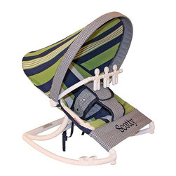 Hoohobbers - Hoohobbers Baby Rocker - Lacrosse - 271-28 - Shop for Baby Bouncers and Jumpers from Hayneedle.com! Even if your son doesn't turn out to be a star athlete the Hoohobbers Baby Rocker - Lacrosse is a good choice because of its simple attractive design. The baby rocker's frame is made from virtually indestructible solid polypropylene with a full hood made from removable fabric in a straight-forward combination of green and blue stripes and checks in a traditional Ivy League style. It swings from front to back and simply rotate the stabilizer feet to adjust the range of motion. This rocker is water-resistant and great for outdoor use since there are no metal parts. The removable toy bar will divert your child with its beige spinning characters. The Hoohobbers Baby Rocker - Lacrosse folds up to a slim 5 inches for easy portability and it's simple to assemble with the snap-together pieces. All fabric is machine-washable. Includes 1-year warranty. Weight capacity: 25 pounds. Sling dimensions: 14W x 24D inches.About HoohobbersBased in Chicago Hoohobbers has designed and manufactured its own line of products since 1981 beginning with the now-classic junior director's chair. Hoohobbers makes both hard goods (furniture) and soft goods. Hoohobbers' hard goods are not your typical furniture products; they fold are lightweight and portable and are made to be carried by children all around the house. Even outdoors Hoohobbers' hard goods are 100 percent water-safe. At the same time they are plenty durable and can take the abuse children often give. Hoohobbers' soft goods are fabric items ranging from bibs to bedding from art smocks to Moses baskets.Hoohobbers' products are recognized by independent third parties for their quality and performance. Hoohobbers has received Best Design Awards from America's Juvenile Products Association each time selected from more than 20 000 products. Hoohobbers has also received the Parents' Choice Award and no Hoohobbers product has ever been subject to consumer recall. Furthermore the company's products are often featured in leading women's and children's publications.