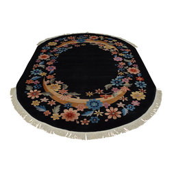 Art Deco Black Oval Chinese Rug Floral Design 6'x9' Hand Knotted Sh17912 - Our Modern & Contemporary hand knotted rug collection contains some of the latest designs in the industry. The range includes geometric, transitional, abstract, and modern designs; from the Tibetans to the Gabbeh. We offer an entire line of contemporary designs, whether you're searching for sophisticated and muted to the vibrant and bold.