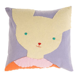 Kata Golda - Pillow - Bunny, Girl - Kata Golda's down pillow features a removable canvas slipcase that's decorated with a hand-stitched wool felt animal design. The hand-embroidered details make each pillow unique. Care: Gently spot wash with cold water by hand. Detergents can cause the wool to fade, so use caution and test in an inconspicuous area first.  Do not place items in the dryer; they will shrink.