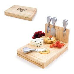 Picnic Time - St. Louis Rams Asiago Folding Cutting Board With Tools in Natural Wood - The Asiago is a folding cutting board with tools that is another Picnic Time original design. This compact, fully-contained split-level cutting board is made of eco-friendly rubberwood. Lift up the top level of the board to reveal four brushed stainless steel cheese tools: a pointed-tipped cheese knife, cheese fork, cheese chisel knife, and blunt nosed hard cheese knife. The tools are magnetically secured to a wooden strip that lifts up so you can close the cutting board and display the tools. Designed with convenience in mind, the Asiago is great for home or anywhere the party takes you.; Decoration: Engraved; Includes: 4 brushed stainless steel cheese tools (1 pointed-tipped hard cheese knife, cheese fork, cheese chisel knife, and blunt nosed soft cheese knife