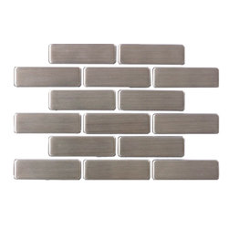 """Susan Jablon Mosaics - Quarter Sheet of Stainless Steel Subway Tile - This stainless steel tile is shaped into ¾"""" x 2 1/2"""" stainless steel mosaic tile in a running brick orientation. This selection is truly a classic statement that works with any counter top. Stainless steel tile is very easy to care for.This 8mm thick, 3/4 x 2 1/2 inch subway stainless steel tile has a stylish brushed gray, silver metallic surface. Absolutely perfect for your kitchen backsplash, this pairs with any countertop surface you have chosen. The construction of this tile is a porcelain core that is wrapped with stainless steel on the top and on all the sides. It can be cut with a wet saw during installation.It is very easy to install as it comes by the square foot on mesh and it is very easy to clean!"""