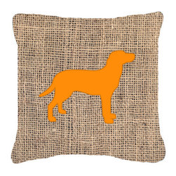 Caroline's Treasures - Labrador Burlap and Orange Fabric Decorative Pillow Bb1116 - Indoor or Outdoor pillow made of a heavy weight canvas. Has the feel of Sunbrella fabric. 14 inch x 14 inch 100% Polyester Fabric pillow Sham with pillow form. This pillow is made from our new canvas type fabric can be used Indoor or outdoor. Fade resistant, stain resistant and Machine washable.