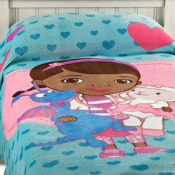 Disney - Disney Doc McStuffins Blanket - This soft and cuddly printed blanket is made from a luxurious coral fleece fabric and features Doc McStuffins printed on its face. It's a great piece to make the comforter come together, and works standalone as a fun accent for your child's bedroom.