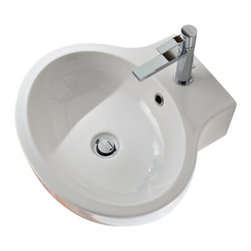Scarabeo - Oval White Ceramic Wall Mounted or Vessel Bathroom Sink, One Hole - Round white ceramic wall mounted or vessel bathroom sink. Stylish round over the counter or suspended sink has one pre drilled hole. Made in Italy by Scarabeo.