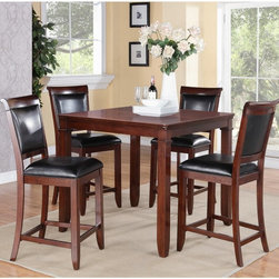 Standard Furniture - Standard Furniture Dallas 5 Piece Counter Height Dining Table Set - Medium Brown - Shop for Dining Sets from Hayneedle.com! Designed to accommodate today's busy lifestyles the Standard Furniture Dallas 5 Piece Counter Height Dining Table Set - Medium Brown Cherry is perfect for casual family meals game night and more. The set includes a counter-height dining table and four coordinating chairs. All are made of sustainable rubberwood with cherry veneers and engineered wood products. The medium brown cherry stain has burnishing for casual appeal. The chairs feature black faux leather upholstered backs and seats. The table has a four-way match veneer top and ogee undertop moldings.About Standard FurnitureFounded in 1946 as a family owned American-based company Standard Furniture operates their own manufacturing and distribution facilities in Bay Minette and Frisco City Alabama with more than 80% of their entire workforce based out of the United States. Their 1.4 million square feet of manufacturing space 1.5 million square feet of warehouse space and more than 40 trucks enable them to keep up with customer demand. Their main focus is to assist their customers in growing their retail businesses by supplying products that will sell due to quality design and value. As one of the leading case goods manufacturers in the market Standard Furniture's continual growth and presence in the market place has remained steady over the last 60 years.