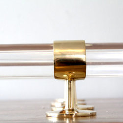 Lucite and Polished Brass Drapery Curtain Rod by Lux Holdups - Want to add a gorgeous and modern flair to a room? This Lucite curtain rod will do it. The rod itself is beautiful, but the gorgeous polished bronze is the real showstopper.