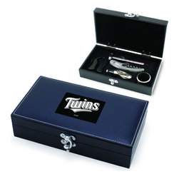 """Picnic Time - Minnesota Twins Syrah Five-Piece Box Set Of Wine Accessories in Black - The Syrah is a five-piece box set of wine accessories that is a welcome addition to anyone's wine bar. It includes 1 stainless steel waiter-style corkscrew, 1 drip ring, 1 wine thermometer, 1 foil cutter, and 1 pourer/bottle stopper. The box measures 8-3/4"""" x 4-29/32"""" x 2-1/8"""" and is made of black premium leatherette with white accent stitching. The Syrah makes a thoughtful gift for your wine-loving friends.; Decoration: Laser Engraved; Includes: 1 stainless steel waiter-style corkscrew, 1 drip ring, 1 wine thermometer, 1 foil cutter, and 1 pourer/bottle stopper"""