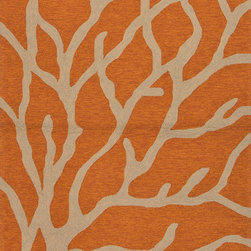 Jaipurrugs - Coastal Pattern Orange/Taupe Coral Rectangle Area Rug Border Color Gray 2' x 3' - Coastal Pattern Polypropylene Orange/Taupe Indoor-Outdoor Coral Rectangle Area Rug Border Color Gray 2' x 3'.