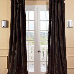 EFF - Signature Espresso Faux Taffeta Silk Curtain Panel - With their dramatic,floor-sweeping design and rich,textured fabric,these espresso-colored curtain panels upgrade the style of any room. Made from faux taffeta silk,these panels have a pole pocket and three-inch rings for easy installation.